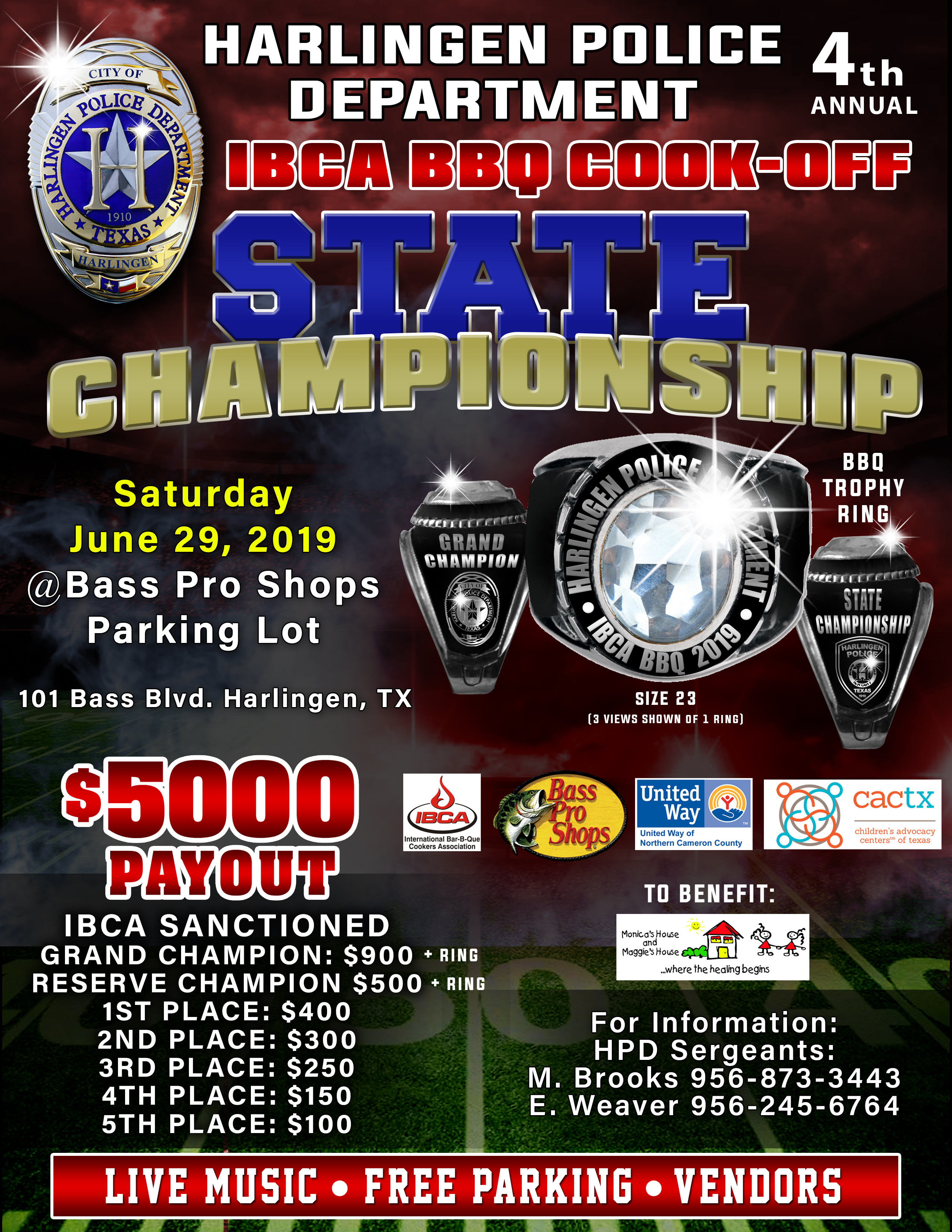 4th Annual Harlingen PD IBCA BBQ Cook-Off State Championship