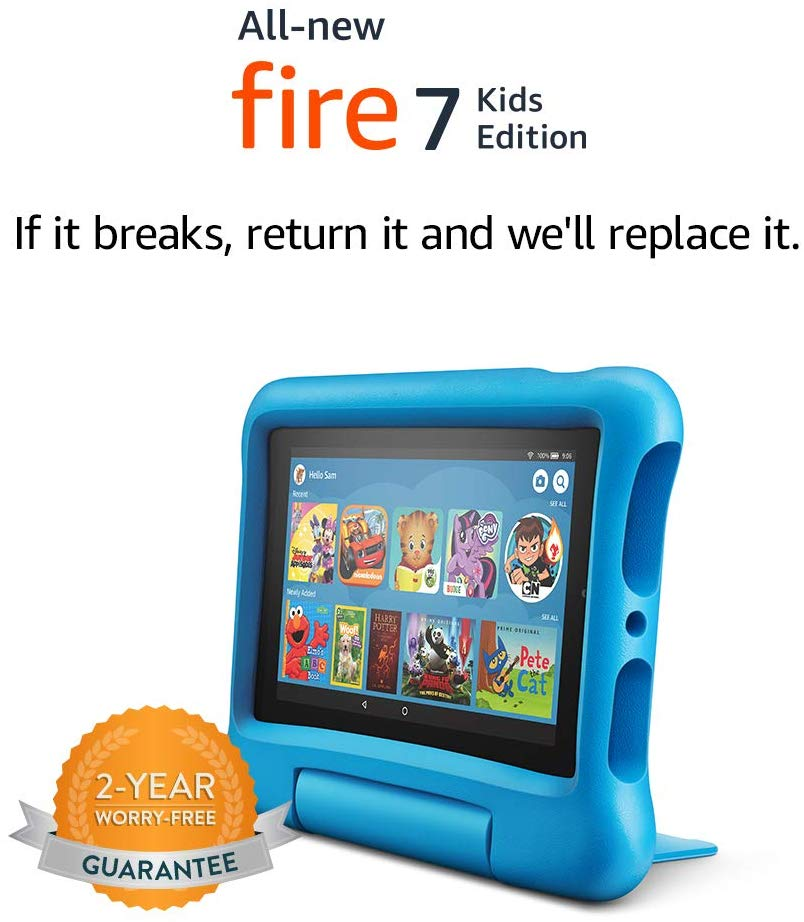 "Fire 7 Kids Edition Tablet, 7"" Display, 16 GB, Blue Kid-Proof Case- $69.99 & FREE Shipping"