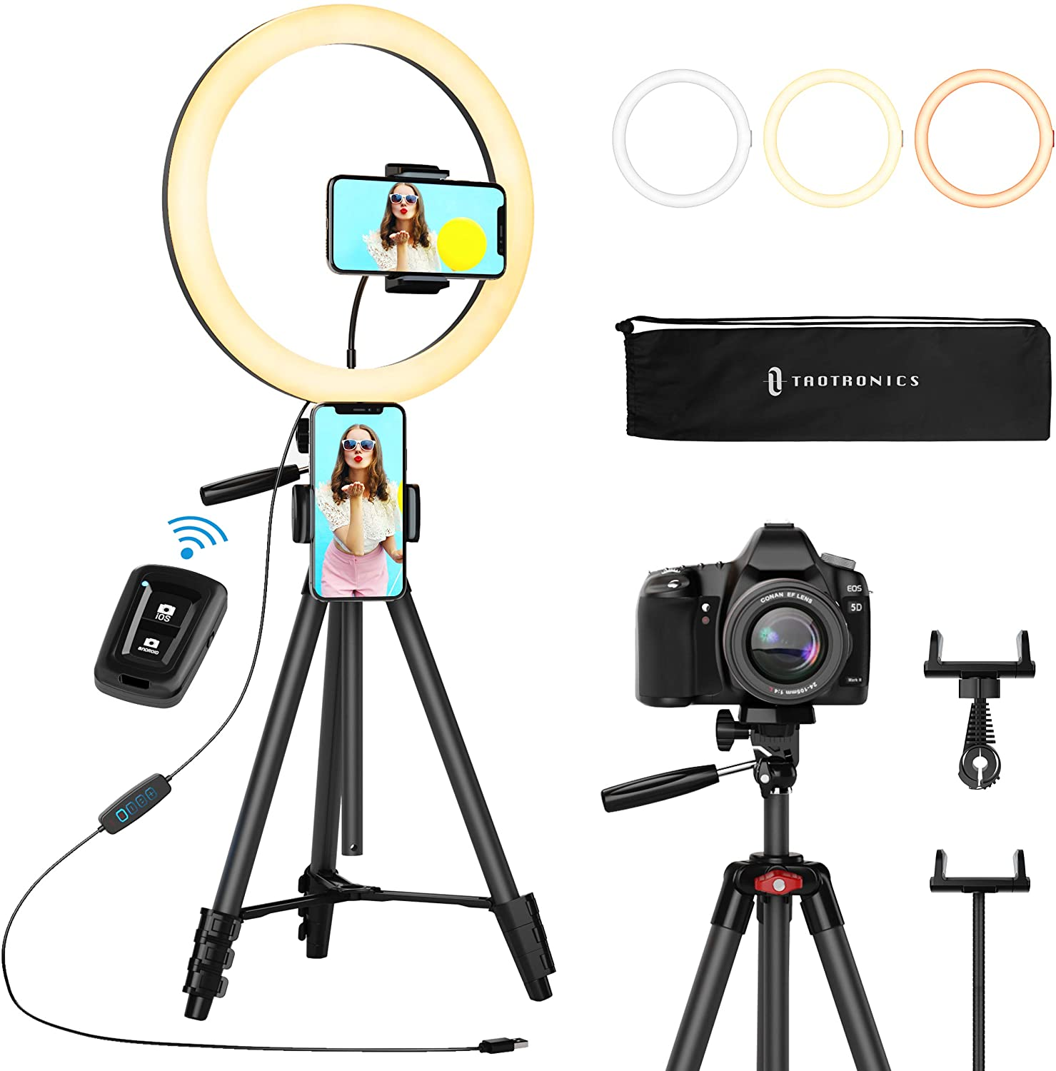 TaoTronics 12 Inch Selfie Ring Light with 3 Color Modes, 10 Adjustable Brightness, 61 Inch Extendable Tripod, 2 Phone Holders, Bluetooth Remote Shutter for Photography / Makeup / Live Streaming / YouTube / Vlogs