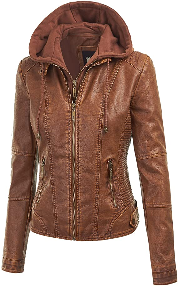 Lock and Love Women's Faux Leather Jacket with Detachable Hood, Biker Style